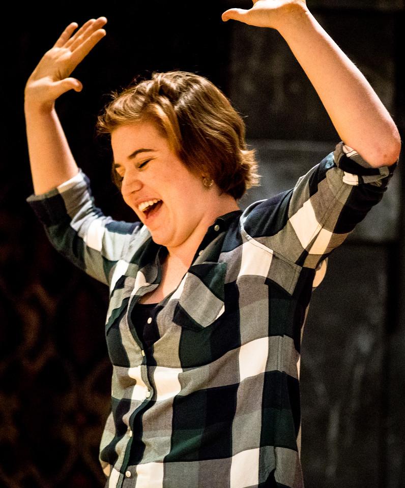 Allie Babich (Conrad) in rehearsal for MUCH ADO ABOUT NOTHING.  Photo by Jay McClure.