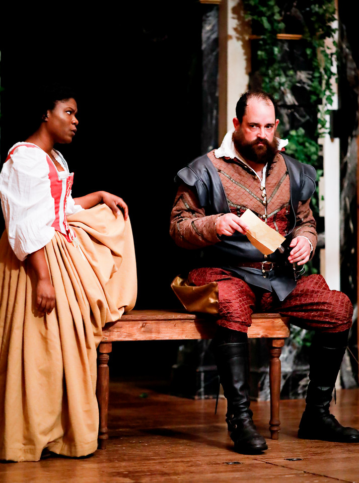 Shunté Lofton as Margaret and David Anthony Lewis as Benedick in MUCH ADO ABOUT NOTHING. Photo by Lindsey Walters.