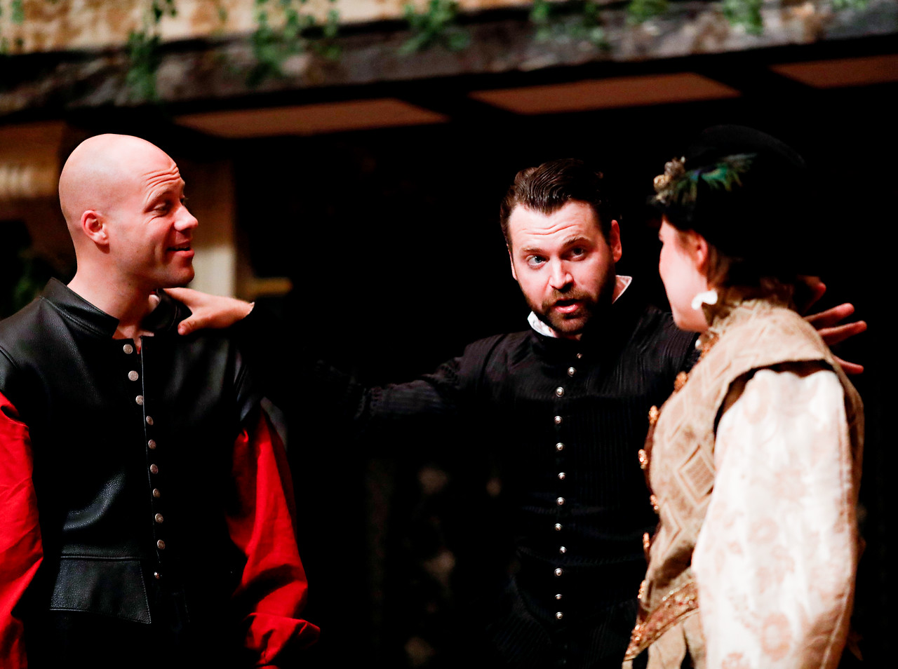 Greg Brostrom as Borachio, Josh Innerst as Don John, and Allie Babich as Conrad in MUCH ADO ABOUT NOTHING. Photo by Lindsey Walters.