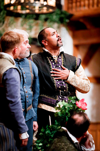 Benjamin Reed as Claudio, Christopher Seiler as Leonato, René Thornton, Jr. as Don Pedro, and David Anthony Lewis as Benedick in MUCH ADO ABOUT NOTHING. Photo by Lindsey Walters.