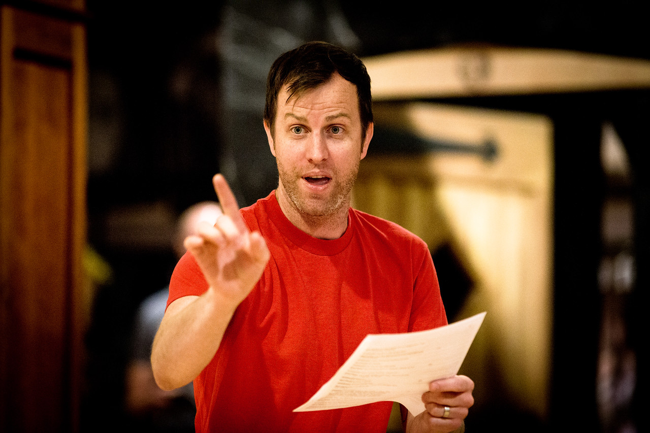 Chris Johnston (Dogberry) in rehearsal for MUCH ADO ABOUT NOTHING.  Photo by Jay McClure.