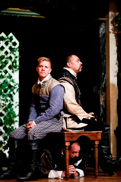 Benjamin Reed as Claudio, René Thornton, Jr. as Don Pedro, and David Anthony Lewis as Benedick in MUCH ADO ABOUT NOTHING. Photo by Lindsey Walters.