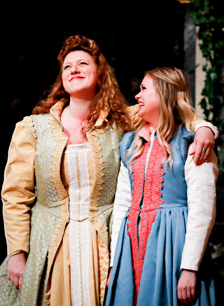 Allison Glenzer as Beatrice and Lauren Ballard as Hero in MUCH ADO ABOUT NOTHING. Photo by Lindsey Walters.