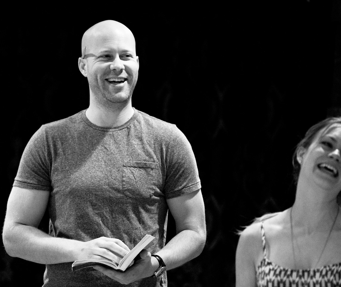 Greg Brostrom (Friar Francis) and Lauren Ballard (Hero) in rehearsal for MUCH ADO ABOUT NOTHING.  Photo by Jay McClure.