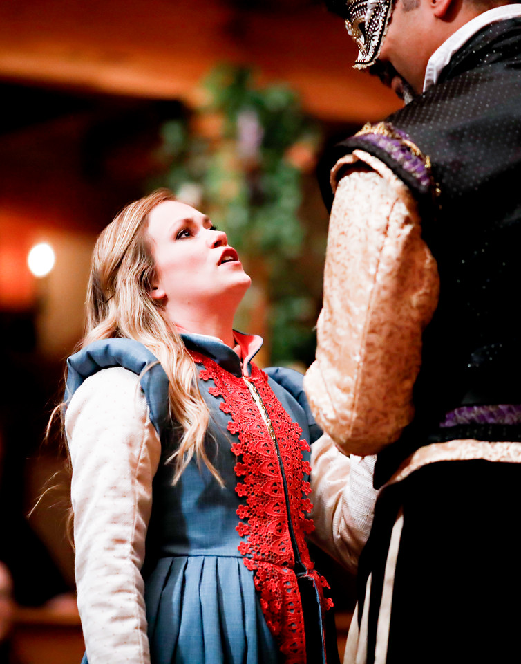 Lauren Ballard as Hero and René Thornton, Jr. as Don Pedro in MUCH ADO ABOUT NOTHING. Photo by Lindsey Walters.