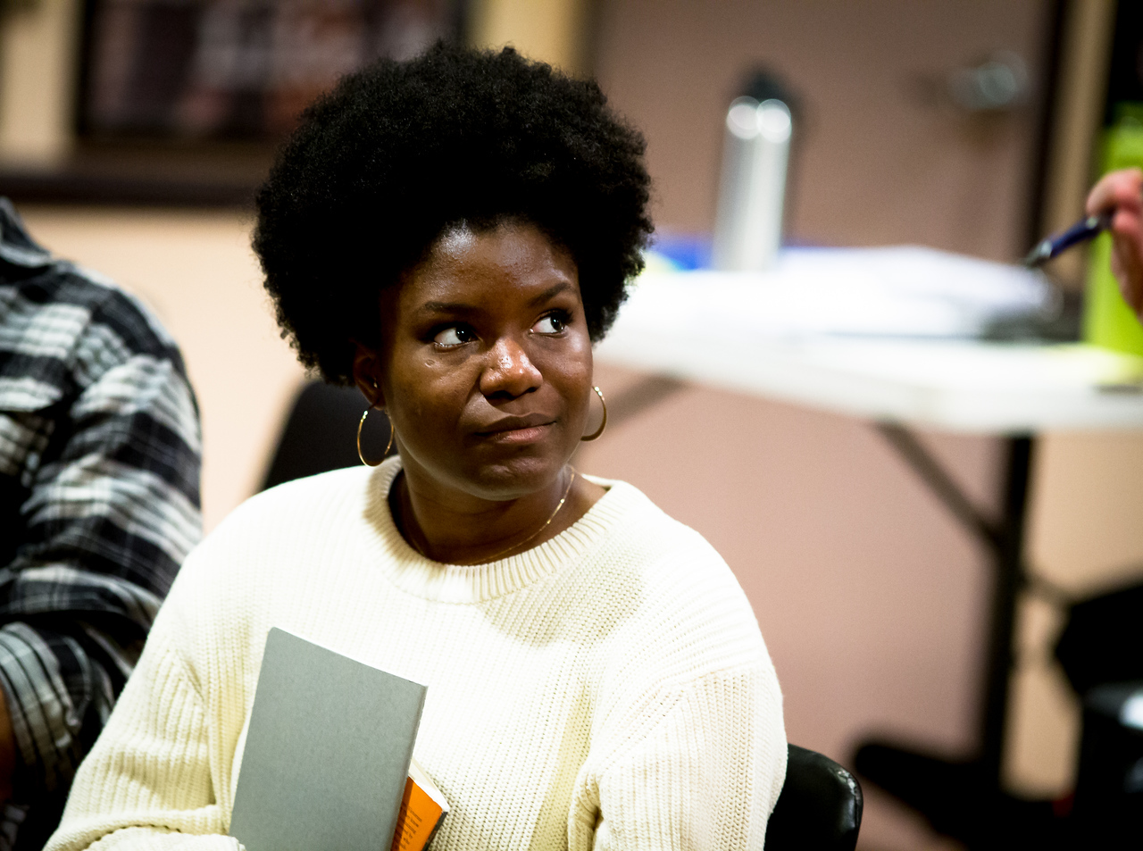 Shunté Lofton (Captain Scott) in rehearsal for PETER AND THE STARCATCHER. Photo by Jay McClure.