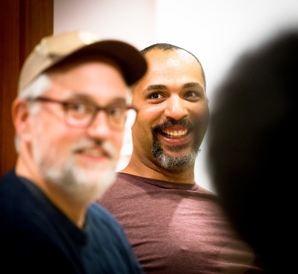 Christopher Seiler (Mrs. Bumbrake) and René Thornton, Jr. (Lord Aster) in rehearsal for PETER AND THE STARCATCHER. Photo by Jay McClure.