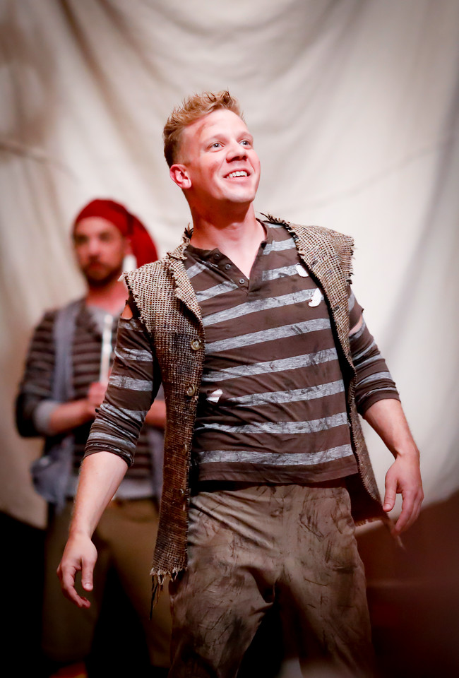 Benjamin Reed as Peter and Tim Sailer as Alf in PETER AND THE STARCATCHER. Photo by Lindsey Walters.