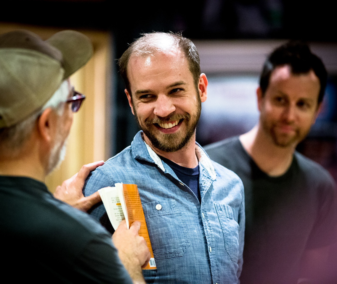 Christopher Seiler (Mrs. Bumbrake), Tim Sailer (Alf), and Chris Johnston (Sánchez) in rehearsal for PETER AND THE STARCATCHER. Photo by Jay McClure.