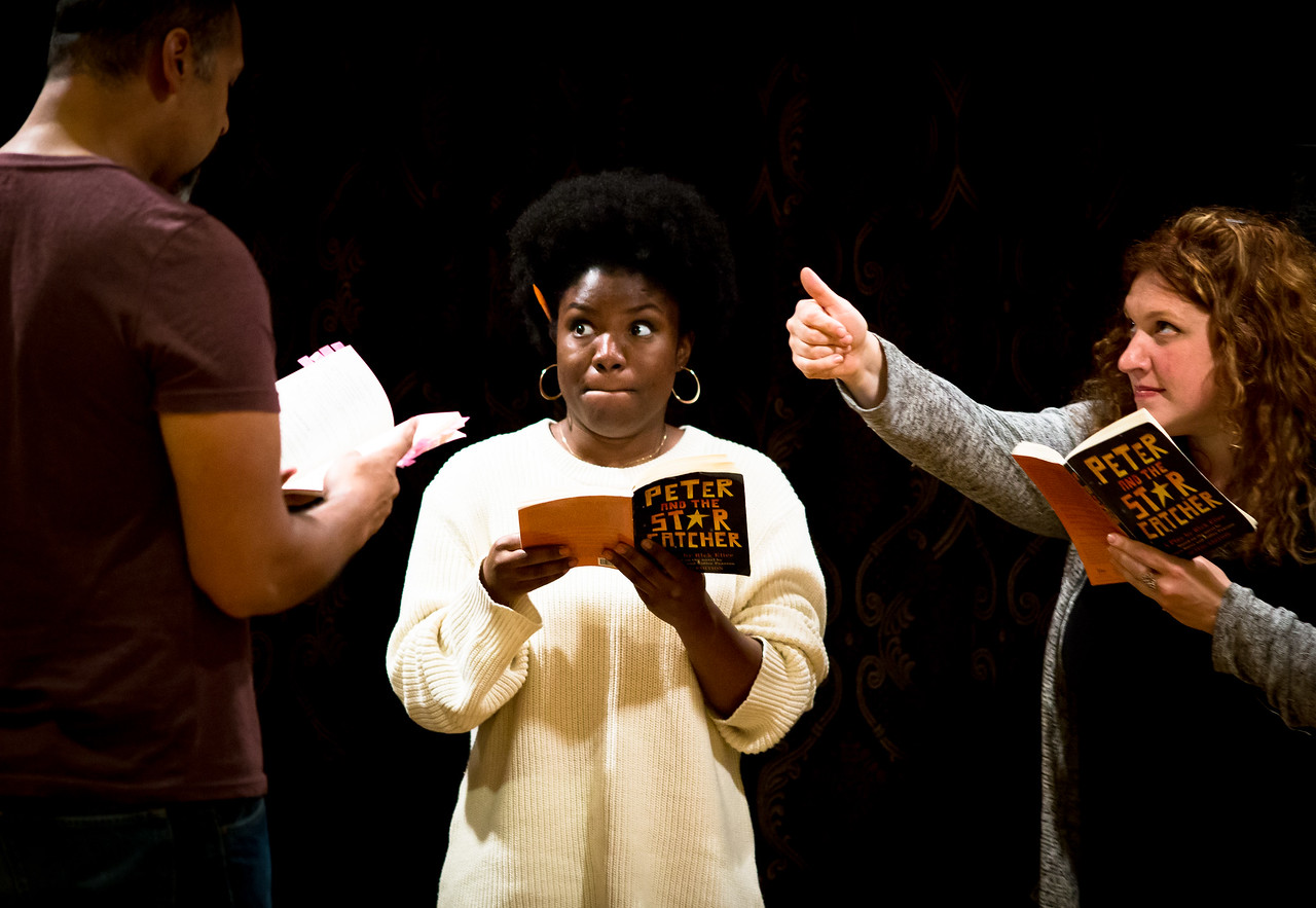 René Thornton, Jr. (Lord Aster), Shunté Lofton (Captain Scott), Allison Glenzer (Smee) in rehearsal for PETER AND THE STARCATCHER. Photo by Jay McClure.