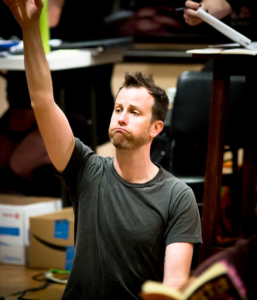 Chris Johnston (Fighting Prawn) in rehearsal for PETER AND THE STARCATCHER. Photo by Jay McClure.