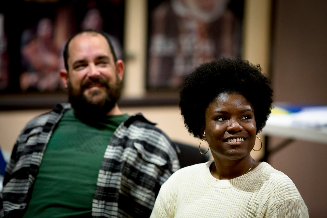 David Anthony Lewis (Slank) and Shunté Lofton (Captain Scott) in rehearsal for PETER AND THE STARCATCHER. Photo by Jay McClure.