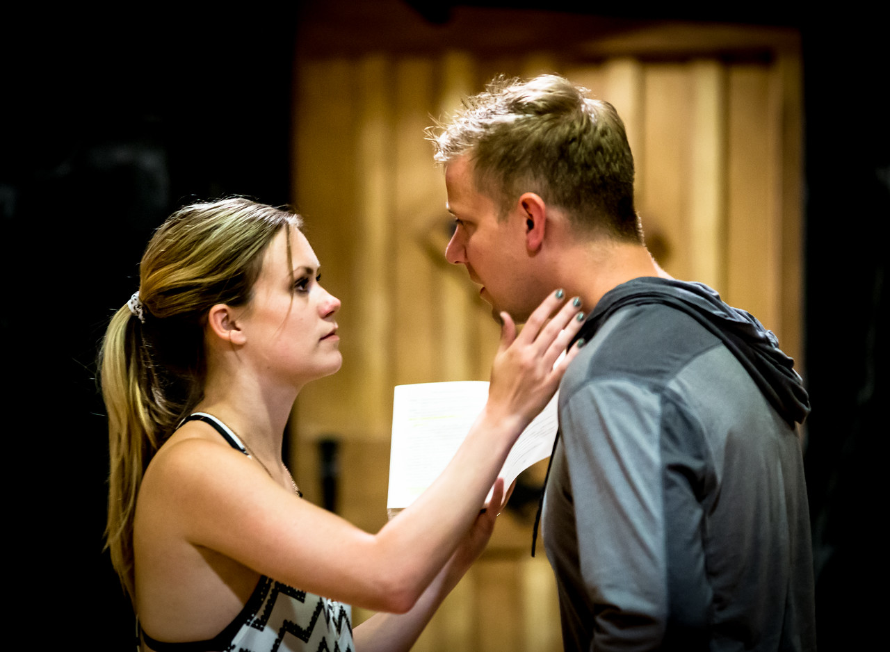 Lauren Ballard (Molly Aster) and Benjamin Reed (Peter) in rehearsal for PETER AND THE STARCATCHER. Photo by Jay McClure.
