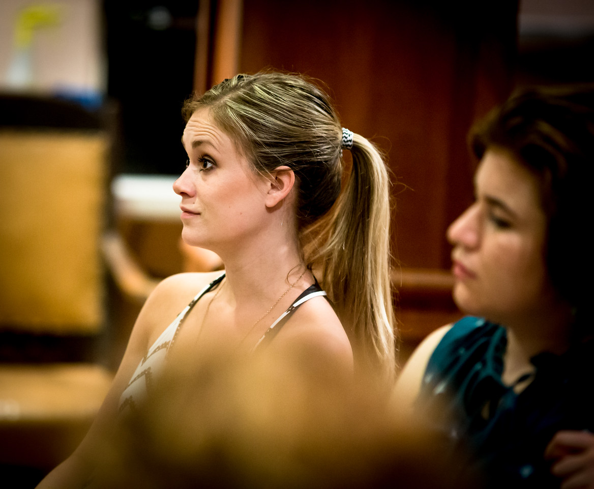 Lauren Ballard (Molly Aster) and Allie Babich (Prentiss) in rehearsal for PETER AND THE STARCATCHER. Photo by Jay McClure.