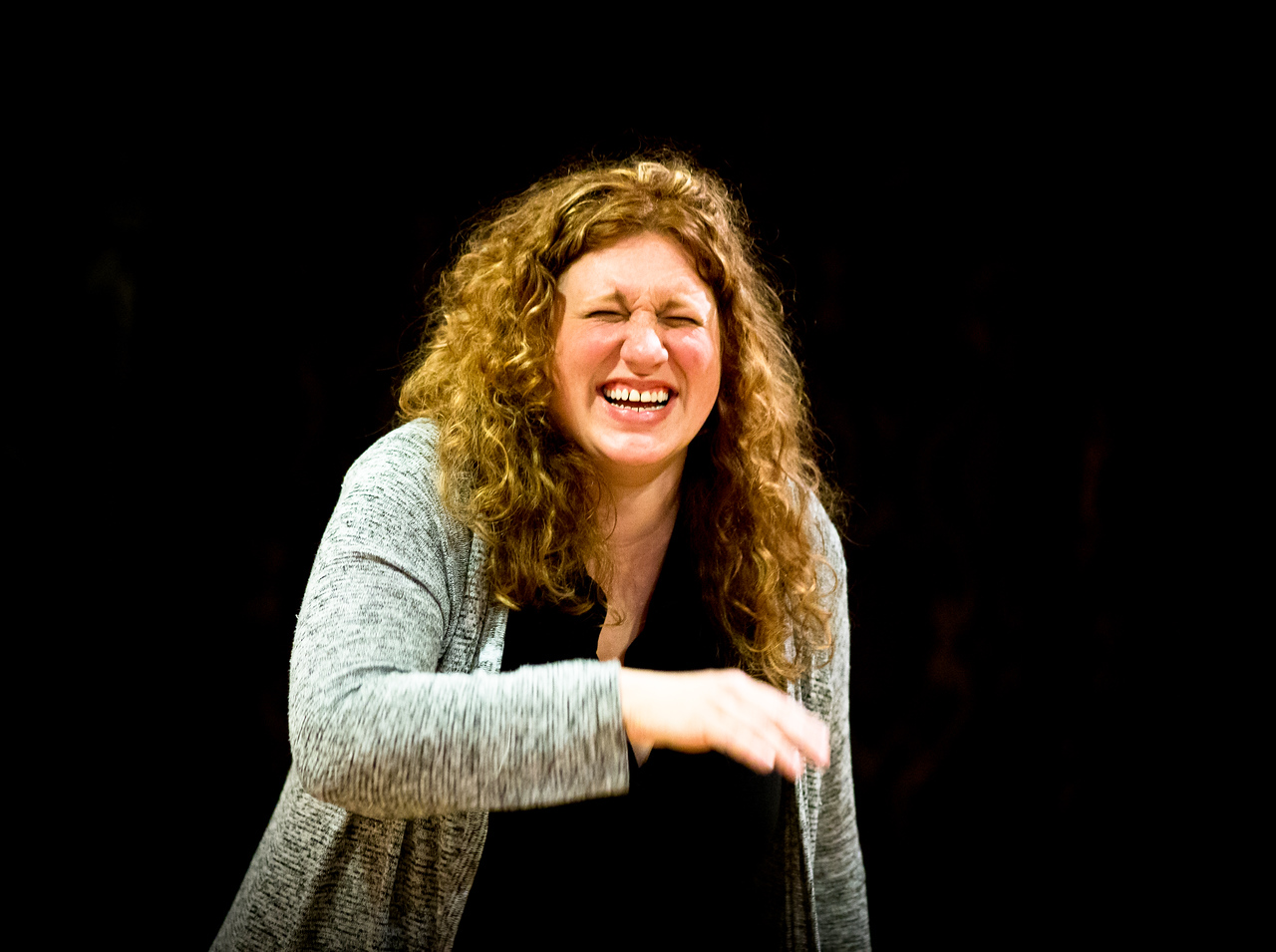 Allison Glenzer (Smee) in rehearsal for PETER AND THE STARCATCHER. Photo by Jay McClure.