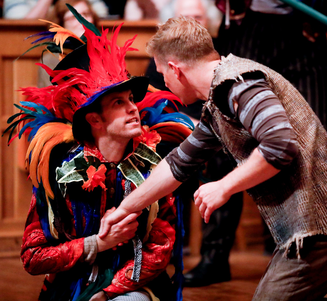 Chris Johnston as Fighting Prawn and Benjamin Reed as Peter in PETER AND THE STARCATCHER. Photo by Lindsey Walters.