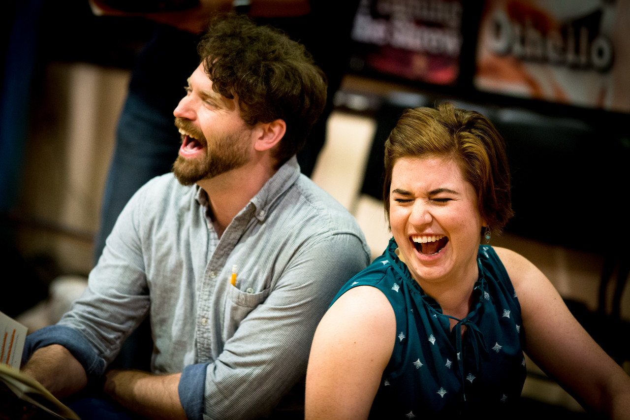 Josh Innerst (Ted) and Allie Babich (Prentiss) in rehearsal for PETER AND THE STARCATCHER. Photo by Jay McClure.