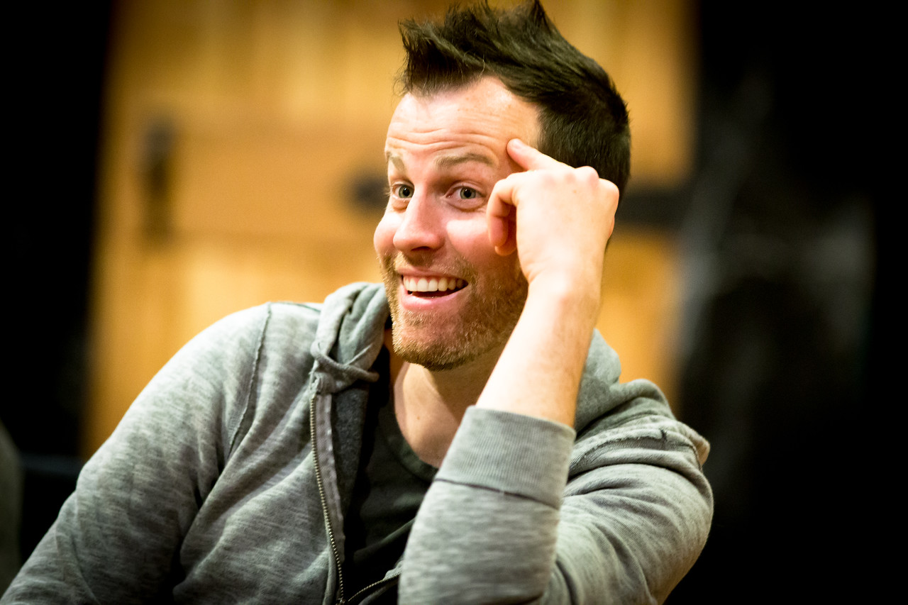 Chris Johnston (Grempkin) in rehearsal for PETER AND THE STARCATCHER. Photo by Jay McClure.