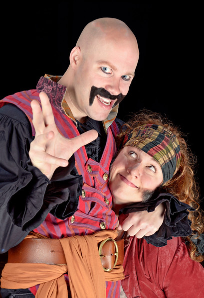 Greg Brostrom as Black Stache and Allison Glenzer as Smee in PETER AND THE STARCATCHER.  Photo by Michael Bailey.
