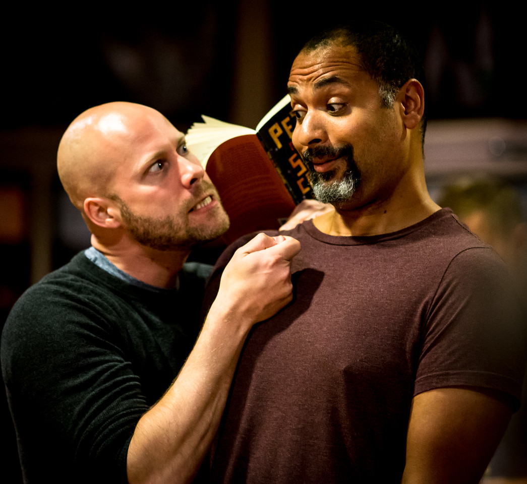 Greg Brostrom (Black Stache) and René Thornton, Jr. (Lord Aster) in rehearsal for PETER AND THE STARCATCHER. Photo by Jay McClure.