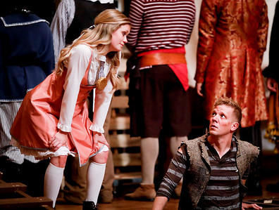 Lauren Ballard as Molly Aster and Benjamin Reed as Peter in PETER AND THE STARCATCHER. Photo by Lindsey Walters.
