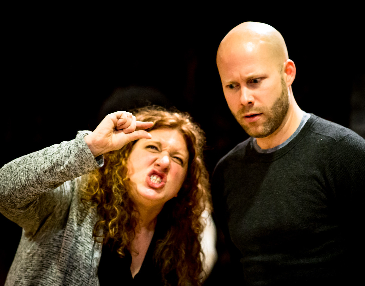 Allison Glenzer (Smee) and Greg Brostrom (Black Stache) in rehearsal for PETER AND THE STARCATCHER. Photo by Jay McClure.