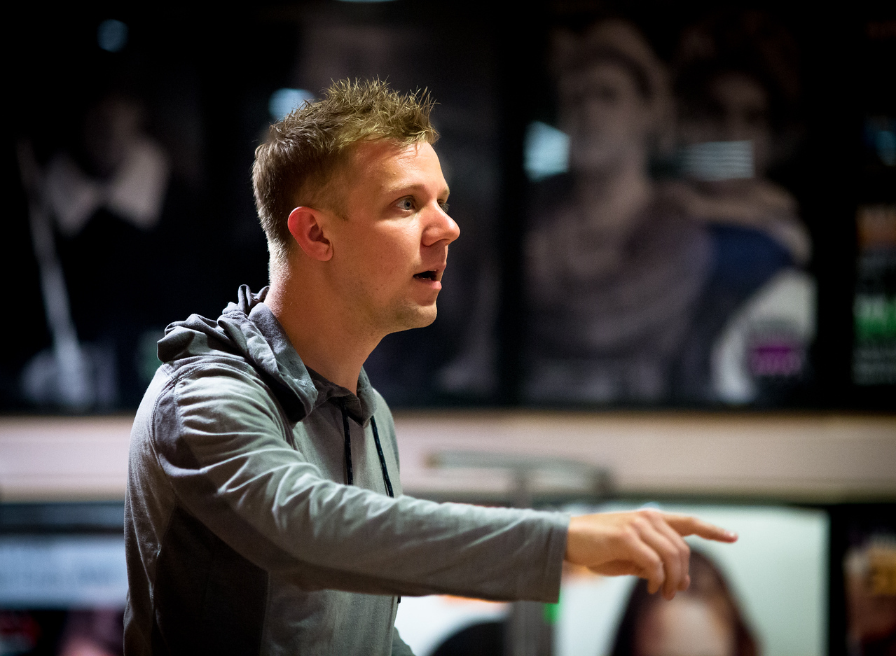 Benjamin Reed (Peter) in rehearsal for PETER AND THE STARCATCHER. Photo by Jay McClure.