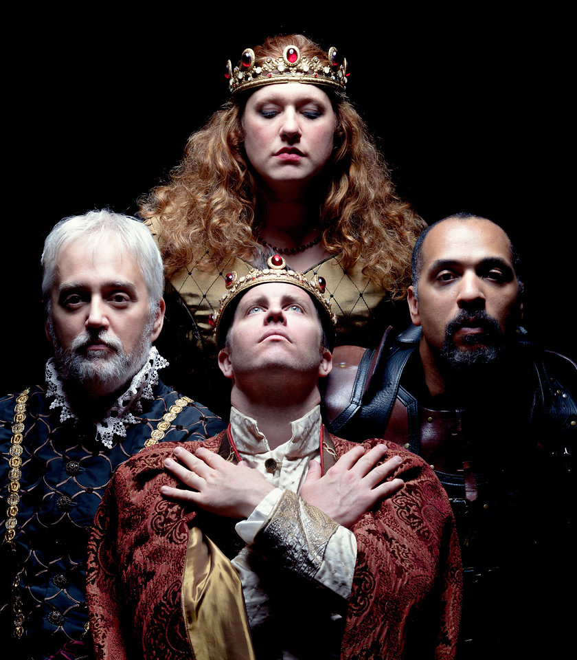 Christopher Seiler as York, Chris Johnston as Henry, Allison Glenzer as Margaret, René Thornton, Jr. as Richard in THE FALL OF KING HENRY (HENRY VI, PART 3).  Photo by Michael Bailey.