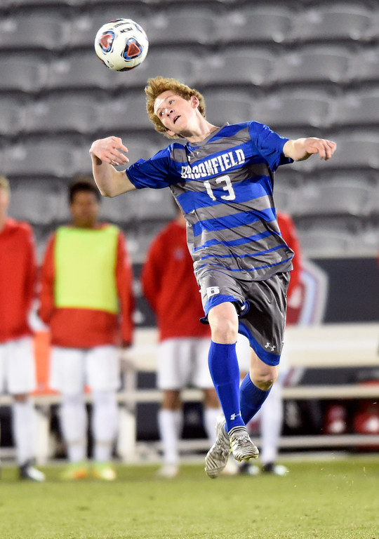 . Broomfield High School\'s Tanner Smith heads the ball during the CHSAA 5A State Championship game against Denver East High School on Saturday at Dick\'s Sporting Goods Park in Commerce City. Broomfield won the game 1-0. For more photos go to BoCoPreps.com Jeremy Papasso/ Staff Photographer/ Nov. 11, 2017