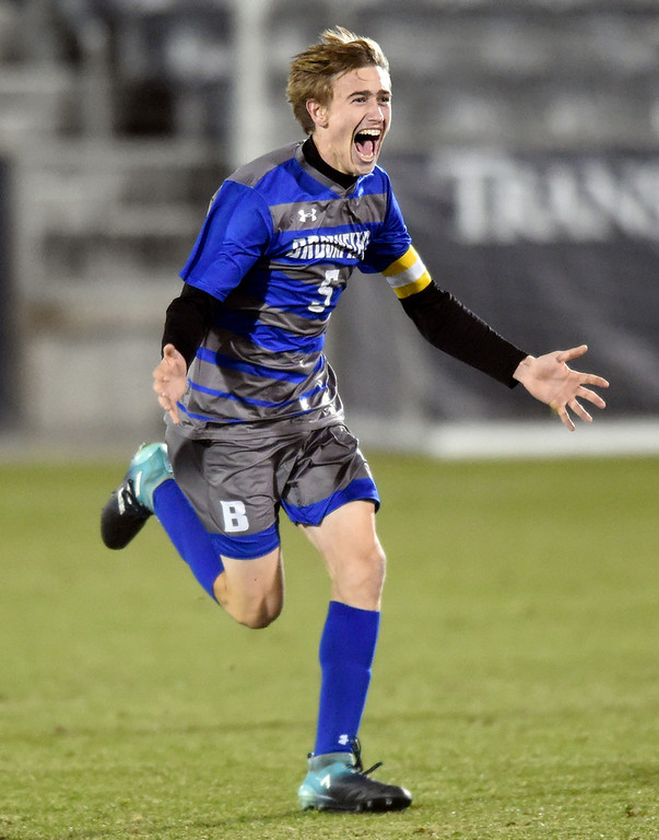 . Broomfield High School\'s Cameron Broadhurst celebrates after winning the CHSAA 5A State Championship game against Denver East High School on Saturday at Dick\'s Sporting Goods Park in Commerce City. Broomfield won the game 1-0. For more photos go to BoCoPreps.com Jeremy Papasso/ Staff Photographer/ Nov. 11, 2017