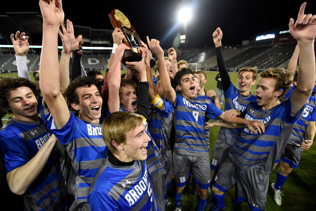 . The Broomfield High School boys celebrate victory after winning the CHSAA 5A State Championship game against Denver East High School on Saturday at Dick\'s Sporting Goods Park in Commerce City. Broomfield won the game 1-0. For more photos go to BoCoPreps.com Jeremy Papasso/ Staff Photographer/ Nov. 11, 2017