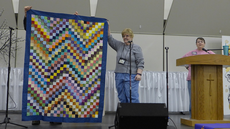 Jan Gagliano - Started this quilt in the Bonnie Hunter class.  The pattern is the scrap bargello.  Jan gave this to Bobbi Slider as one of the Chemo Quilts.