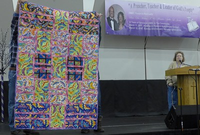 Janet Keesler made this quilt using Laurel Burch butterfly fabrics.  The top was completed before her accident and she just recently found it.  She has tubs of Laurel Burch fabric at home .