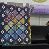 Carol Meyers told us she wanted to make something special for the next quilt show.  She found the pattern last year at Paducah.  Then began to collect the Kona solid fabrics.  Difficutl process to chosse as there are 350 different colors.