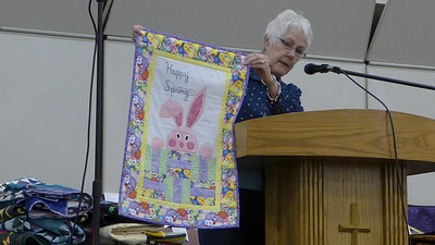 De Chamberlain made this bunny quilt from a pattern borrowed from her neice.