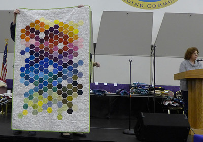 Char Ezell also made this quilt from left over hexagons from another project.  She still has more hesagons.  Quilted by Nancy Boyse.