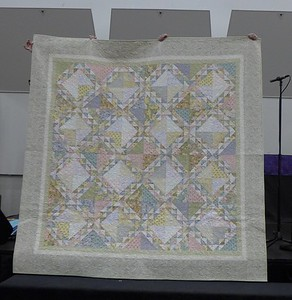 Sharon Gier finished this quilt this spring.  Paris Flea Market is the pattern.  Used a Fat Qtr bundle that she had for 10 years.  Theresa Lee did the quilting.