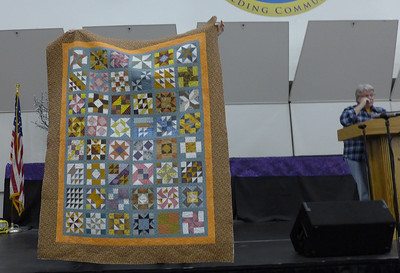 John Putnam showed his Appliquilt Go Sampler No. 2.  Made using an Accuquilt Go cutter.  Quilted by John