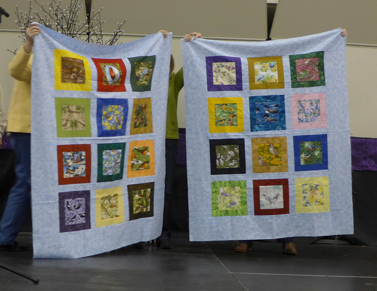 Jan Babcock, a member of Creative Cutups.   The members made three quilts for Bobbie Slider for the cancer center