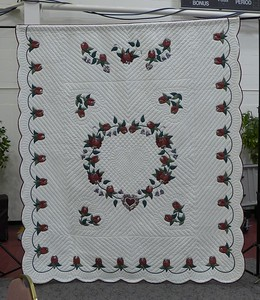 Donation by Jean Kaufmann.  Hand appliqué and hand quilted.  Originally purchased at an Amish Auction.  Size 98 X  112