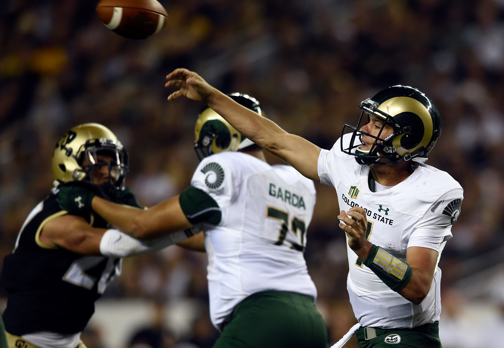 . Colorado State University quarterback Nick Stevens passes the ball during the Rocky Mountain Showdown against the University of Colorado on Friday at Sports Authority Field in Denver. CU won the game 17-3. More photos: Buffzone.com Jeremy Papasso/ Staff Photographer/ Sept. 1, 2017