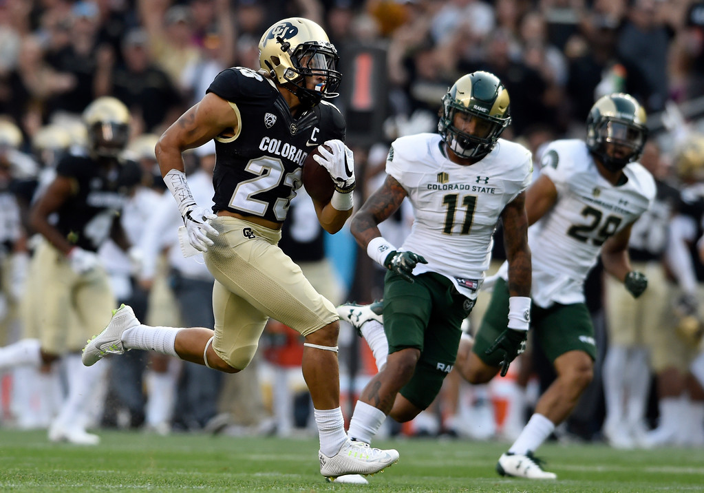 . University of Colorado\'s during the Rocky Mountain Showdown against Colorado State University on Friday at Sports Authority Field in Denver. More photos: Buffzone.com Jeremy Papasso/ Staff Photographer/ Sept. 1, 2017