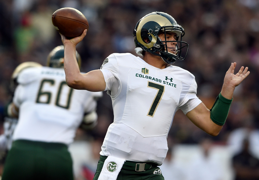 . Colorado State University quarterback Nick Stevens throws the ball during the Rocky Mountain Showdown against the University of Colorado on Friday at Sports Authority Field in Denver. CU won the game 17-3. More photos: Buffzone.com Jeremy Papasso/ Staff Photographer/ Sept. 1, 2017