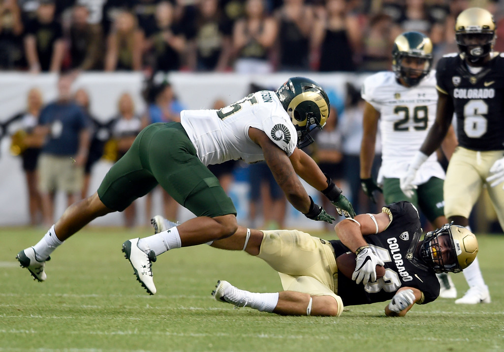 . University of Colorado\'s Chris Bounds makes a catch during the Rocky Mountain Showdown against Colorado State University on Friday at Sports Authority Field in Denver. CU won the game 17-3. More photos: Buffzone.com Jeremy Papasso/ Staff Photographer/ Sept. 1, 2017
