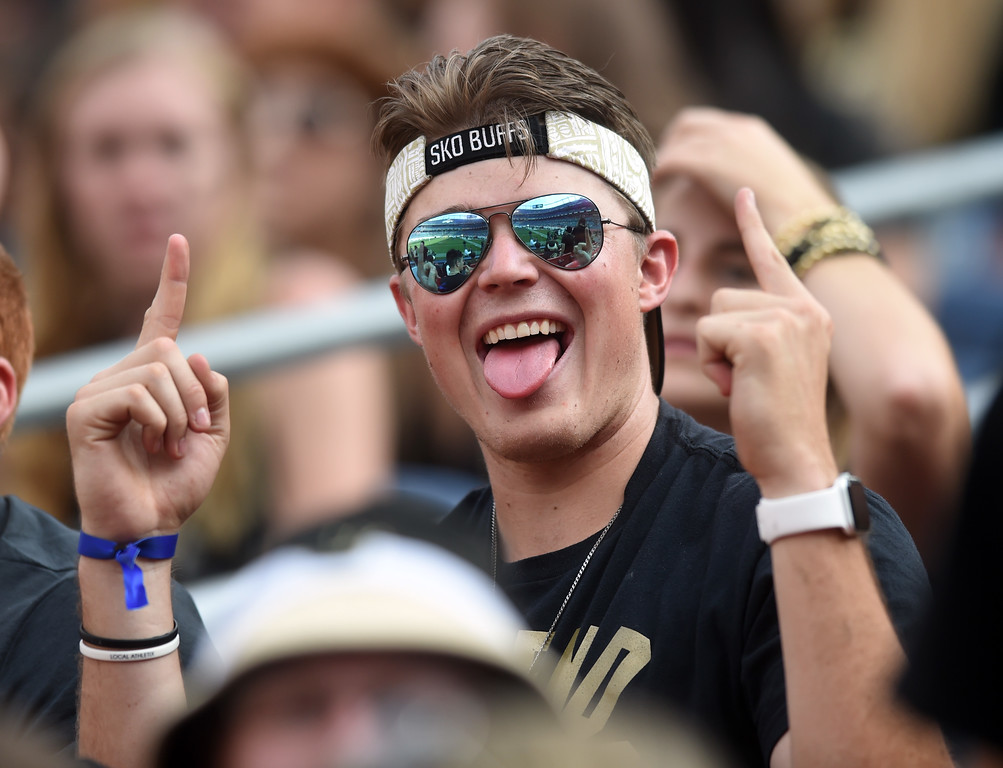 . CU fan, Grant Vanek, is ready for the game before the Rocky Mountain Showdown in Denver.  Cliff Grassmick / Staff Photographer/ September 1, 2017