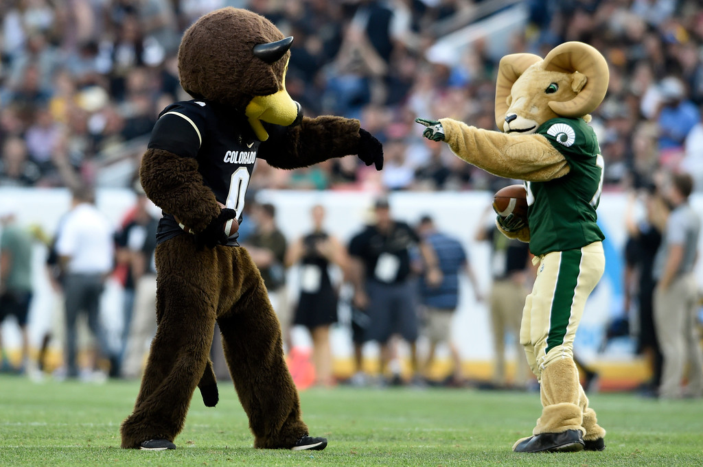 . University of Colorado mascot Chip and Colorado State University mascot Cam show their competitive spirit during halftime during the Rocky Mountain Showdown against Colorado State University on Friday at Sports Authority Field in Denver. More photos: Buffzone.com Jeremy Papasso/ Staff Photographer/ Sept. 1, 2017