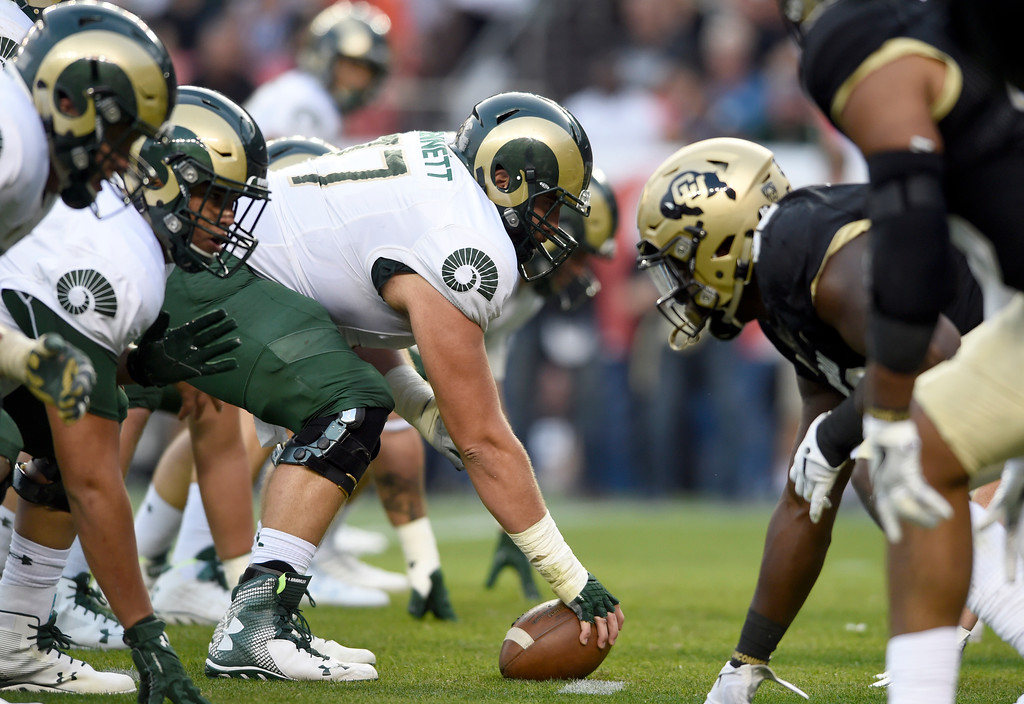 . University of Colorado defense waits for the snap during the Rocky Mountain Showdown against Colorado State University on Friday at Sports Authority Field in Denver. CU won the game 17-3. More photos: Buffzone.com Jeremy Papasso/ Staff Photographer/ Sept. 1, 2017