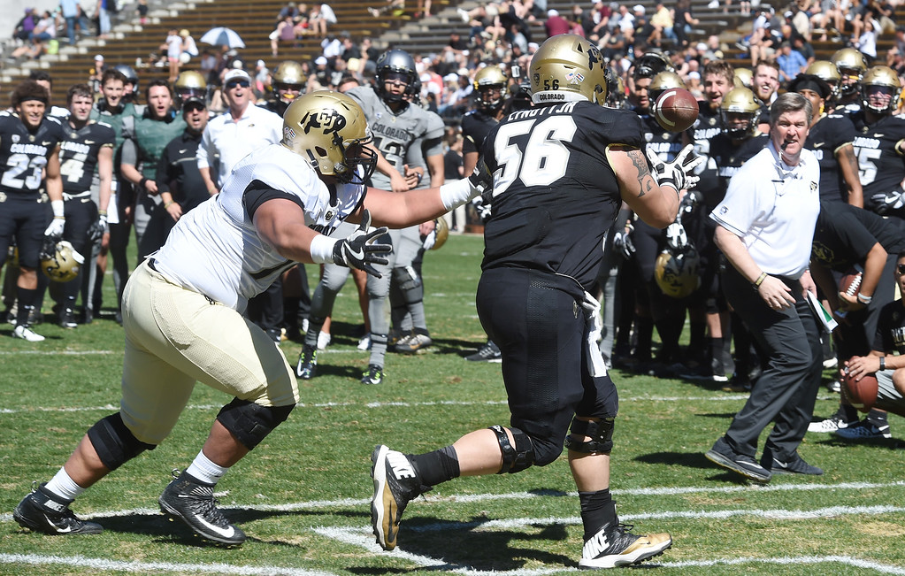 . Tim Lynott, Jr, right, catches a TD pass in front of Lyle Tuiloma in a drill during the 2017 CU Spring Football Game on Saturday. For more photos, go to www.Buffzone.com Cliff Grassmick  Staff Photographer March 18, 2017