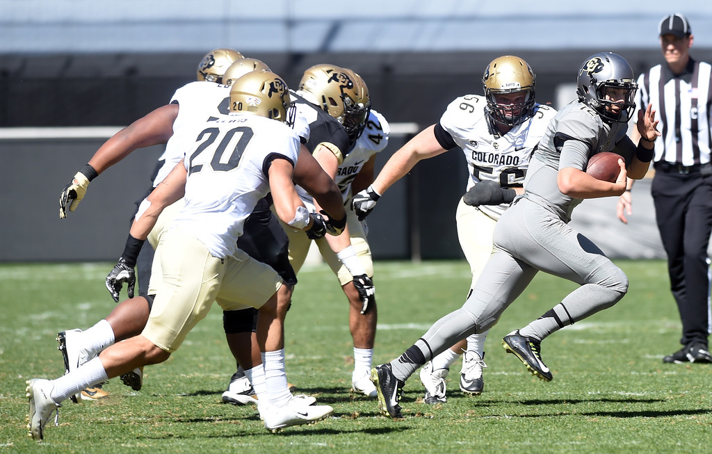 . CU QB, Steven Montez, avoid pressure during the 2017 CU Spring Football Game on Saturday. For more photos, go to www.Buffzone.com Cliff Grassmick  Staff Photographer March 18, 2017