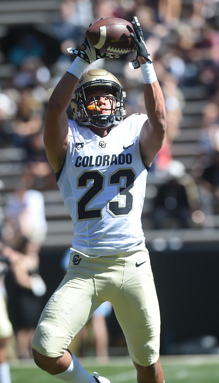 . Isaiah Lewis in a drill during the 2017 CU Spring Football Game on Saturday. For more photos, go to www.Buffzone.com Cliff Grassmick  Staff Photographer March 18, 2017